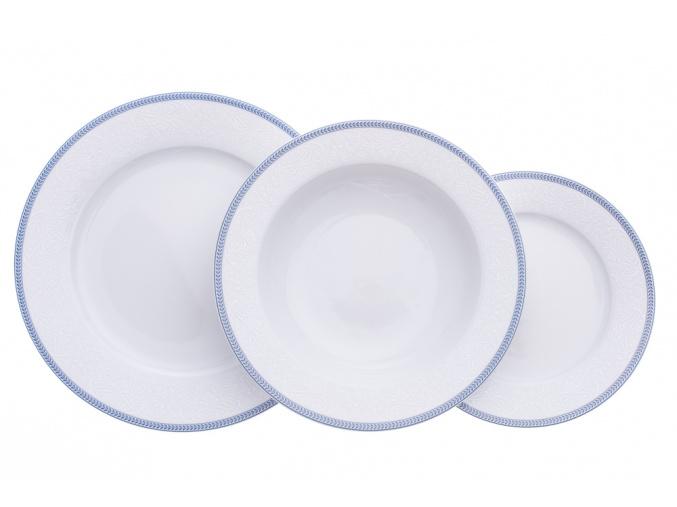 Opal, talířová souprava, bílá krajka, modrý lem, porcelán Thun, 18 d.
