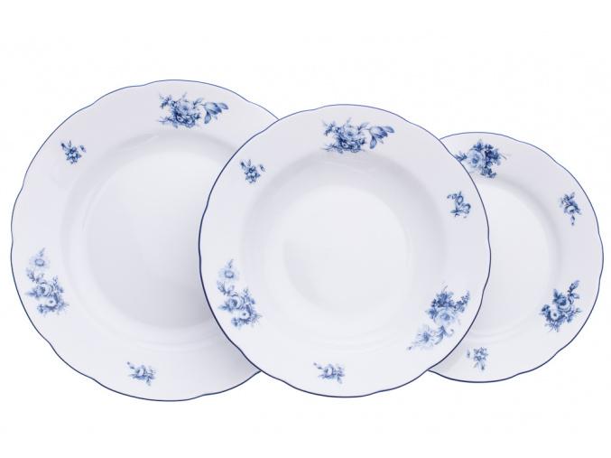Rose, talířová souprava, modré růže, Thun, 18 ks