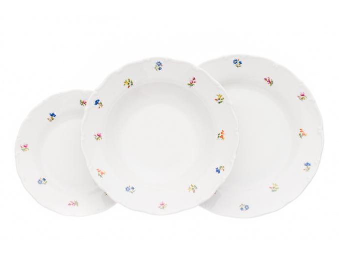 Sada talířů, karlovarský porcelán, Ophelia, házenka, 18 d., Thun R. Z.
