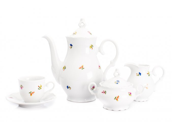 Kávová souprava, karlovarský porcelán, Ophelia, házenka, Thun RZ, 15 d.