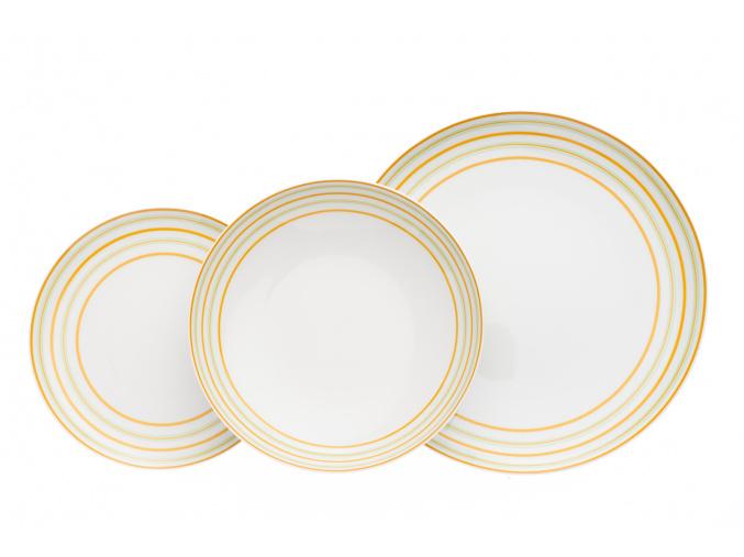 Tom, talířová souprava, žluté linky pásky, Thun