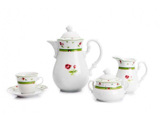 Menuet, kávová souprava, růže, zelená, Thun