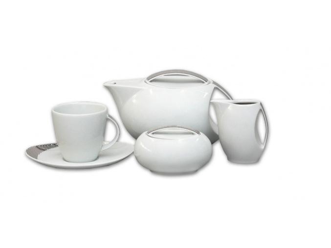 Loos, čajová souprava, platina, Thun