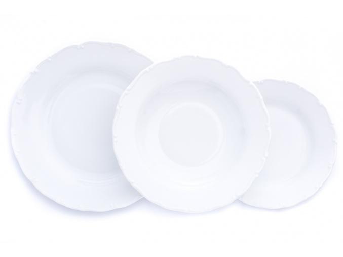 Ophelia, talířová sada, bílá, český porcelán, Thun Rulak Zettlitz