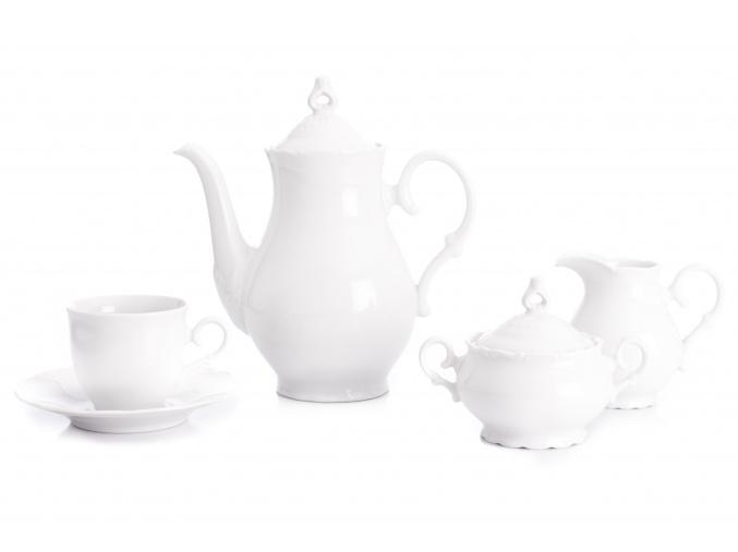 Kávová souprava, bílý porcelán, Ophelia, Thun RZ, 15 d.