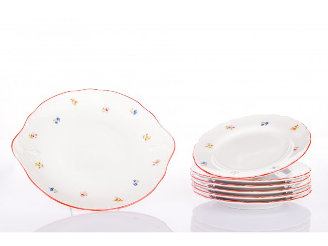 kolacova souprava hazenka s cervenym prouzkem porcelanovy svet