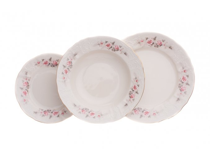 talířová souprava slonová kost růžičky bernadotte porcelanovy svet