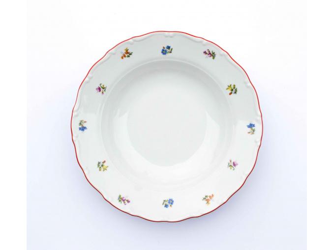Ophelia, talíř hluboký, 23 cm, házenka s červeným proužkem, Thun RZ