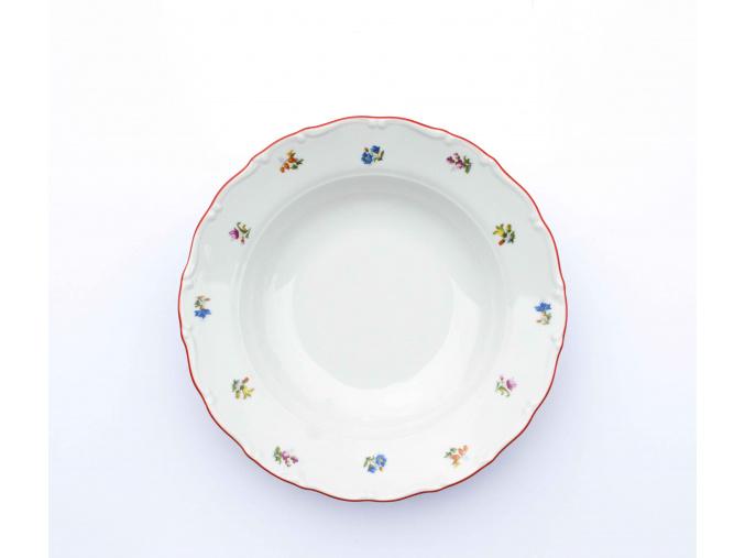 Ophelia, talíř dezertní, 19, házenka s červeným proužkem, Thun RZ