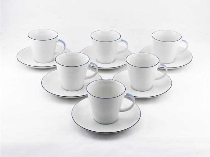 Tom, šálky a podšálky kávové, modrá linka, Thun, 6 ks