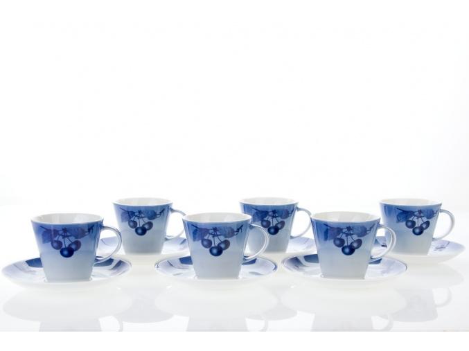 šálky a podšálky modré třešně tom 200 ml český porcelán