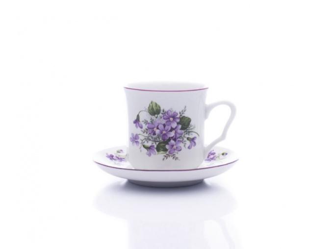 hrnek karel s podšálkem fialky porcelanovy svet