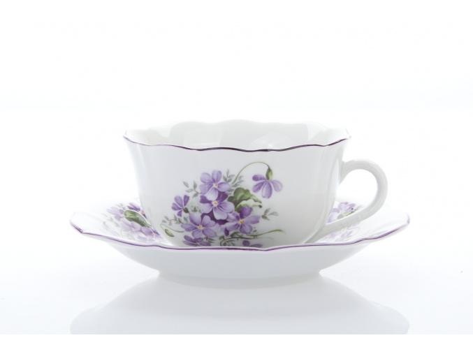 Šálek s podšálkem, český porcelán, 0,20 l, fialky, Český porcelán