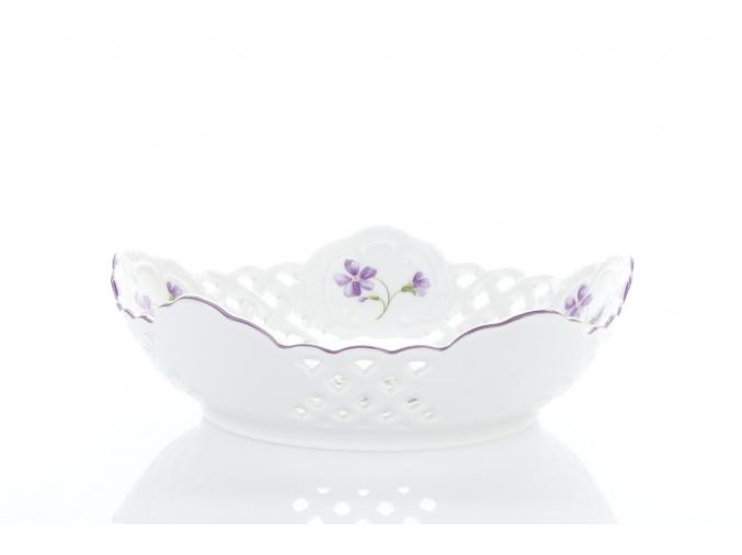 Mísa pětihranná prolamovaná, český porcelán, 19 cm, fialky, Český porcelán