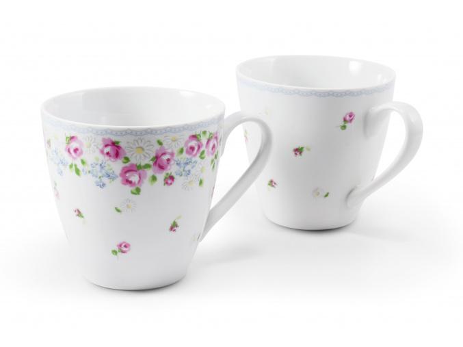 Sada hrnků, 0,30 l, český porcelán, RoseLine, kvítky, Leander, 2 Ks