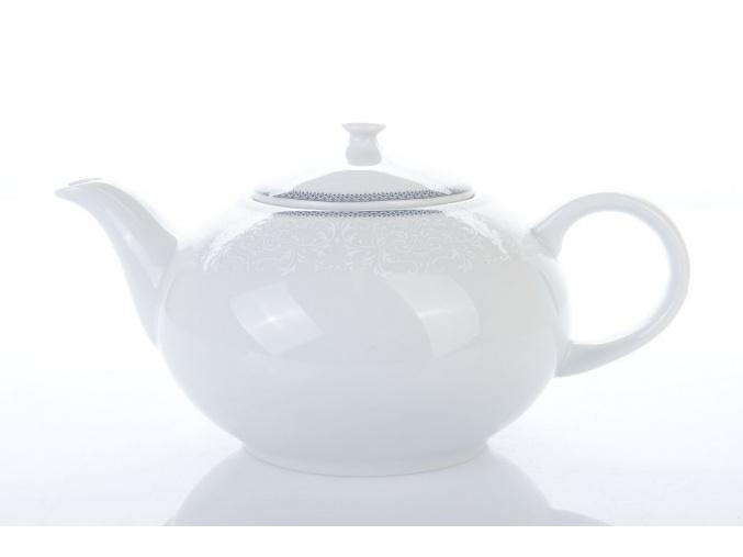 porcelánová konvice na čaj opal krajka šedá thun procelánový svět