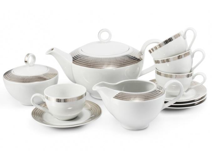 Porcelánový čajový servis andělská křídla platina Leander Porcelánový svět