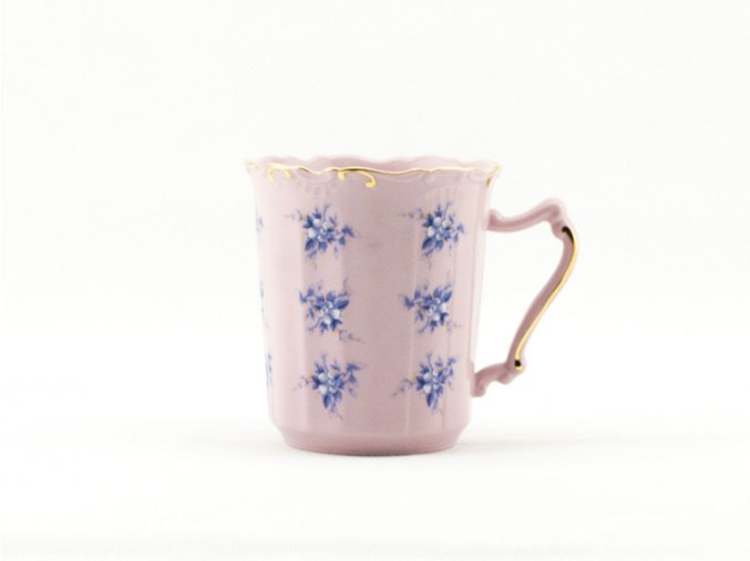 Šálek Amis 0,25 l, modré květiny, růžový porcelán, Leander