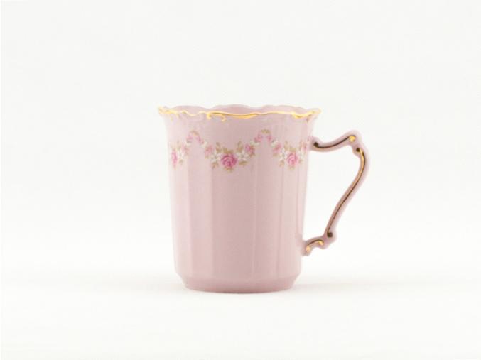 Šálek Amis 0,25 l, kytičky, růžový porcelán, Leander