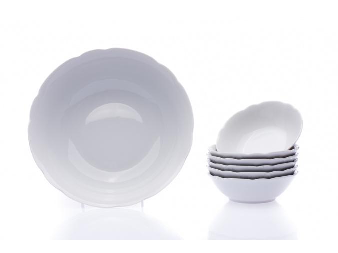Kompotová souprava, bílá, český porcelán, Rose, Thun, 7 d.