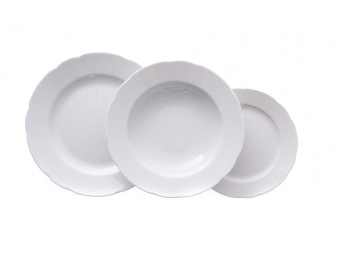 Talířová souprava, bílá, český porcelán, Rose, Thun, 18 ks