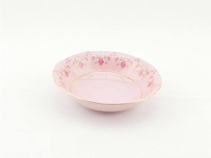 Miska kompotová 13,5 cm, růžový porcelán, kytičky, Leander