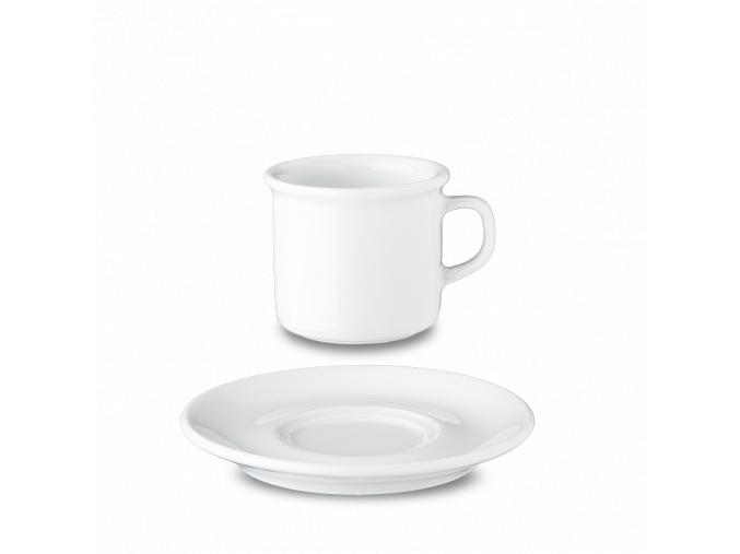 Bílý šálek s podšálkem na espresso, 80 ml, G. Benedikt