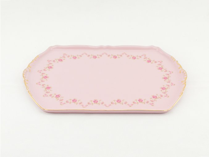 Podnos čtyřhranný Sonáta 28 cm, růžový porcelán, kytičky, Leander
