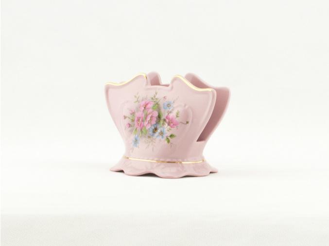 Stojánek na ubrousky 8,5 cm, Sonáta, růžový porcelán, květiny, Leander