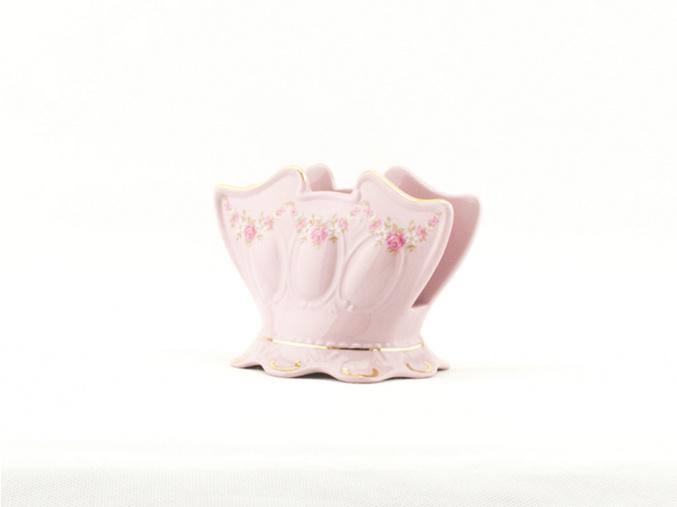 Stojánek na ubrousky 8,5 cm, růžový porcelán, kytičky, Leander