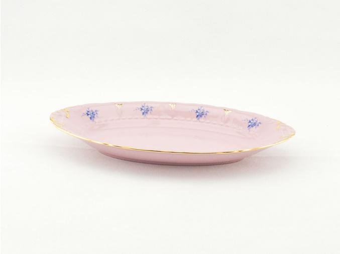 Miska oválná 17 cm, růžový porcelán, modré květiny, Leander