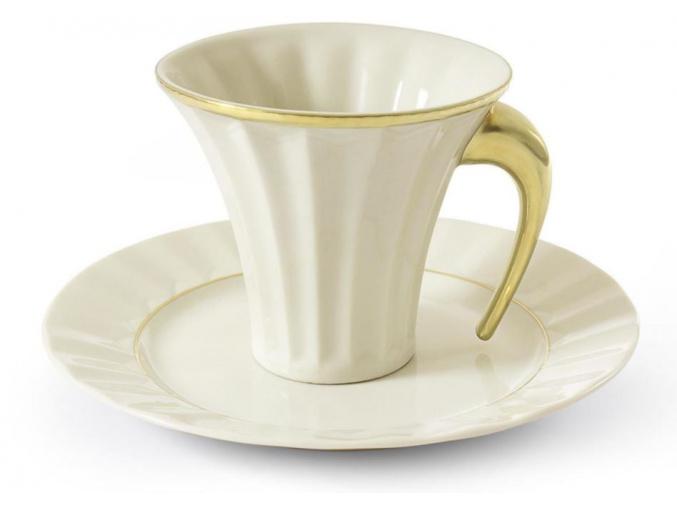 Šálek s podšálkem, zlatý, slon. kost, 0,20 l, Leander