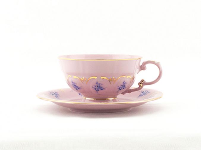 Čajový šálek s podšálkem 0,20 l, modré květiny, růžový porcelán, Leander