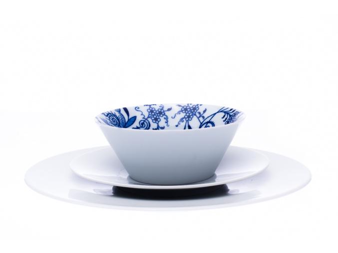 talířová souprava, bohemia cobalt, český porcelán, 18 d.