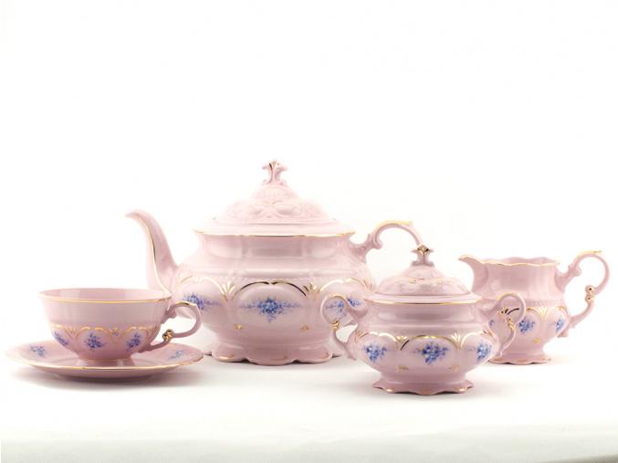 Čajová souprava, modré květiny, růžový porcelán, Leander, 15 dílná