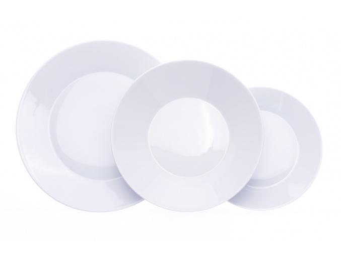 bílá talířová souprava, tom prapor, český porcelán, 18 d.