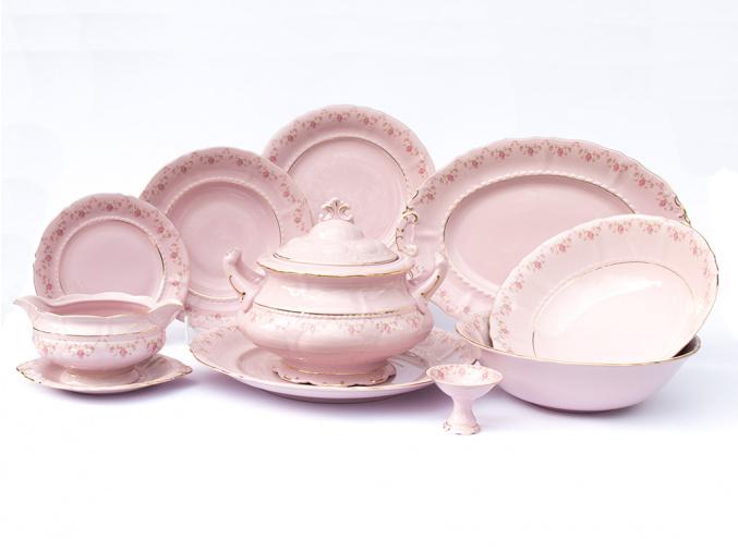 Jídelní souprava Sonáta, kytičky, růžový porcelán, Leander, 25 dílná