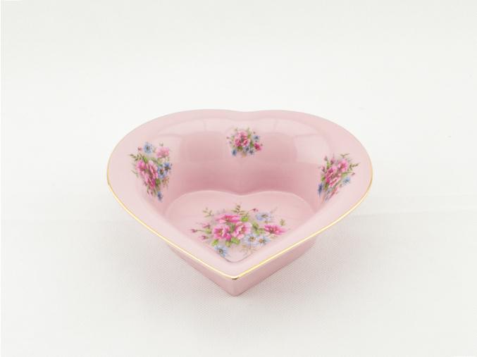 Miska srdce, 16 cm, růžový porcelán, květiny, Leander
