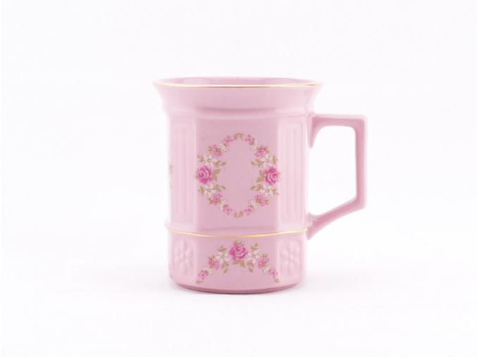 Hrnek hranatý 0,25, růžový porcelán, kytičky, Leander