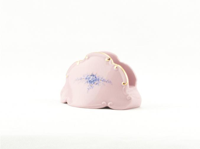 Stojánek na ubrousky, růžový porcelán, modré květiny, Leander