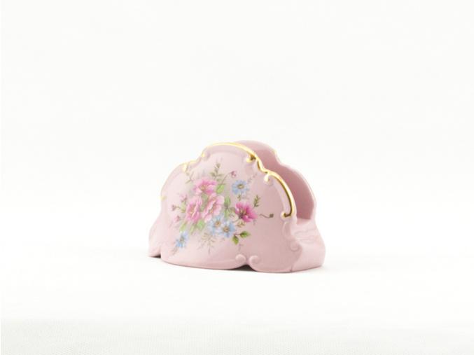 Stojánek na ubrousky, růžový porcelán, květiny, Leander