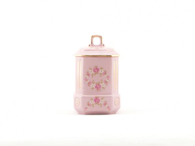Kořenka 11 cm, růžový porcelán, kytičky, Leander