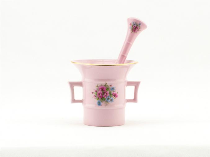 Hmoždíř 0,22 l, růžový porcelán, květiny, Leander