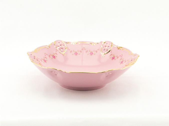 Miska Diana 23 cm, růžový porcelán, kytičky, zlatá linka, Leander