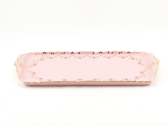 Podnos vykrajovaný 36 cm, růžový porcelán, kytičky, zlatá linka, Leander