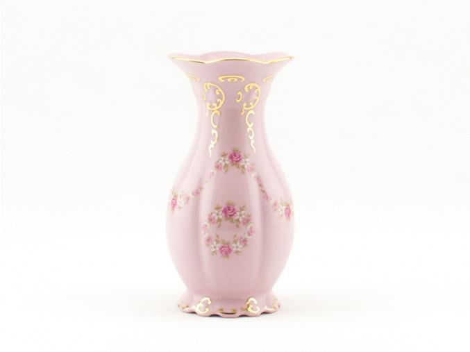 Váza Diana 20 cm, růžový porcelán, kytičky, Leander