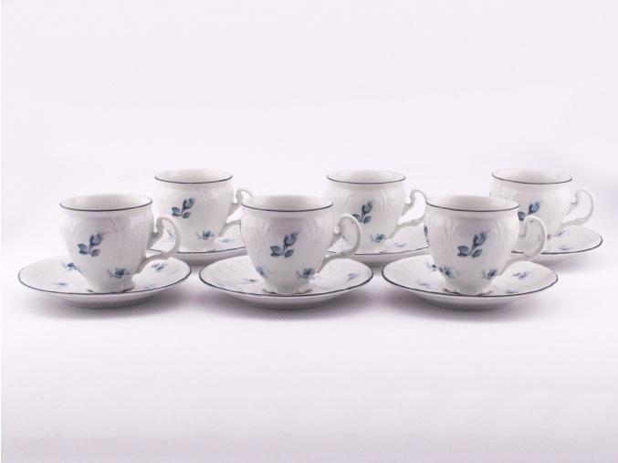Bernadotte, šálky a podšálky kávové, 170 ml, modré růžičky, Thun, 6 ks