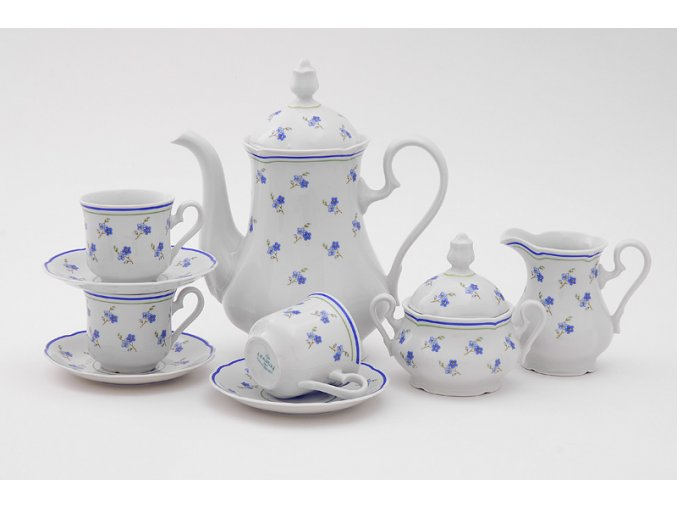 Mary-Anne, kávová souprava, 15-dílná, pomněnky, Leander