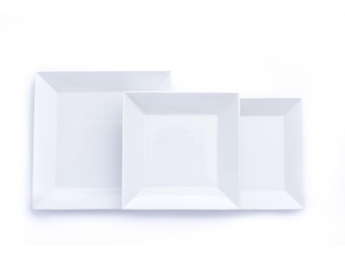 Actual, čtyřhranná talířová sada, bílý porcelán, G. Benedikt, 18 d.