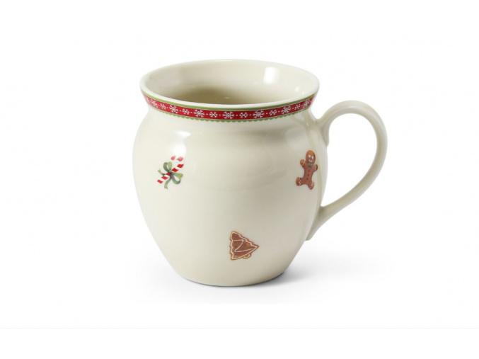hrnek buclák, porcelán, vánoce, perníčky, Leander, 300 ml